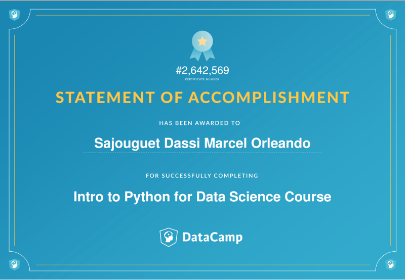 My Python certificate - Data Science